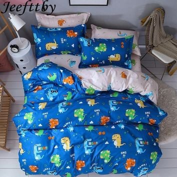 Home Textile Dinosaur Family Bedding Set Quilt Cover Queen Full King Size Child Cartoon Duvet Sheet Pillowcase Bed Linings 3/4pc