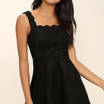Atta Twirl Black Suede Skater Dress