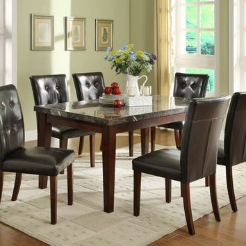 Home Elegance 2456-64 7 pc decatur collection espresso finish wood and marble top dining table set with upholstered seats