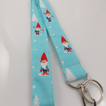 Gnome Lanyard Gnomes Teacher Lanyard Holiday Lanyard Tomte Lanyard Chirstmas Lanyard Gnome Key Holder Gnome ID Badge Holder Nurse Lanyard