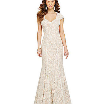 Morgan & Co. Lace Cap-Sleeve Trumpet Gown - Ivory/Nude