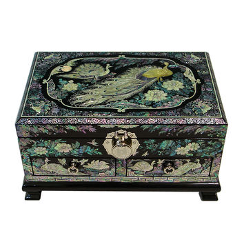 Mother of Pearl Inlay Luxury Peacock Lacquer Big Wood Drawer Jewelry Ring Display Trinket Keepsake Treasure Box Case Organizer