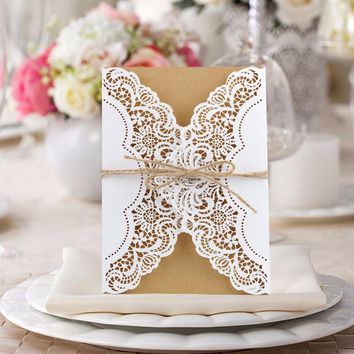 100pcs Wedding Invitations Vintage Hollow Laser Cut Invitation Cards with Ribbon Free Envelope Gift Sticker Wedding Decoration