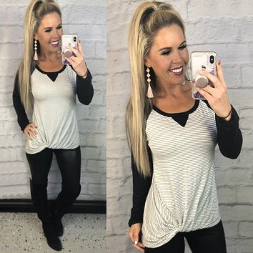 Knot For Now Striped Long Sleeve Top: Black
