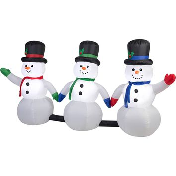 Gemmy Airblown Inflatables Christmas Inflatable 8' Light Show Snowman Pathway with Music