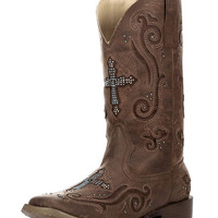 Women's Square Toe Crystal Cross Boot - Brown