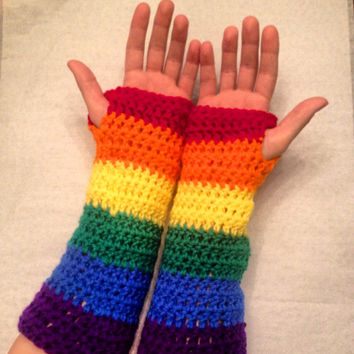 Rainbow crochet fingerless gloves