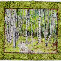 Quilted Wall Hanging  Fiber Art  Woodland Trail  Confetti Quilt Landscape  Spring Green  Birch Tree Decor  Sally Manke FIber Art