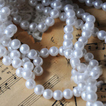 6mm Diameter Pearl Colored Beaded String 30 Pieces for DIY Projects