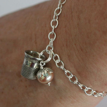 Acorn and Thimble Sterling Silver Bracelet - Second Star Right  - Peter Pan and Weny