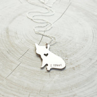 Hand cut French Bulldog pet silhouette necklace, frenchie, dog necklace, personalized, engraved, french bulldog, bulldog, silver