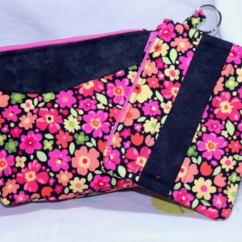 Summer Flowers Matiching Wristlet and Change Purse in Cotton Fabric