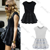 Ladies CREW NECK European Style Short Sleeve Sexy Casual Lace Mini Dresses Black STOCK READY DROP SHIPPING %^ = 1667509380