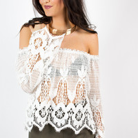 Crocheted Lace Peasant Top