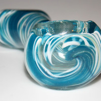 Blue Wave - Tiny Little Easy Stash 2.5 Inch Mini Glass Spoon Bowl Smoking Pipe - Aqua Blue Waves Inside Out Ocean Water Colors