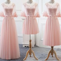 New Pastel Pink Bridesmaid Dresses Lace Half Sleeve For Spring Autumn Outdoor Wedding Party Gown Formal