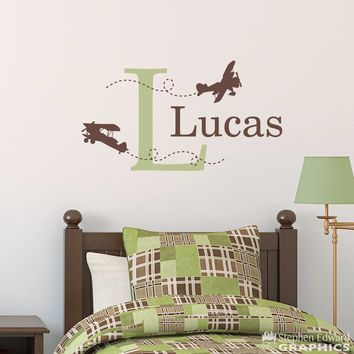 Biplane Wall Decal - Airplane Decal with Initial and Name - Personalized Boy Decal - Medium