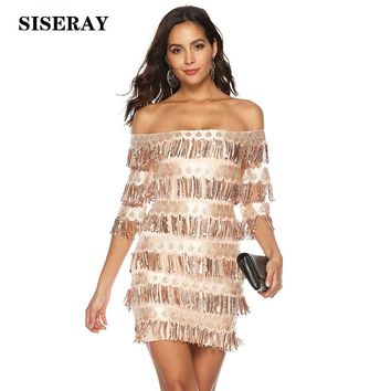 Sexy Off Shoulder Fringe Sequined Party Dress Bodycon Slim Fit Wrap Short Dress Robe Femme Layered Glitter Dress For Women