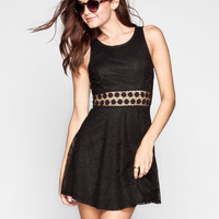 Full Tilt Crochet Inset Lace Overlay Dress Black  In Sizes