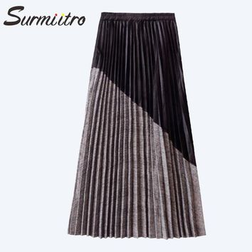 Gogoyouth Suede Velvet And Plaid Knitted Patchwork Skirt For Women Winter High Waist Pleated Long Maxi Skirt Female