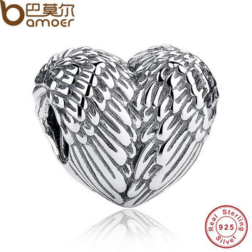 Sculptural 925 Sterling Silver Angelic Feathers Wings Charm Fit BME Bracelet Silver 925 Jewelry Making PAS033