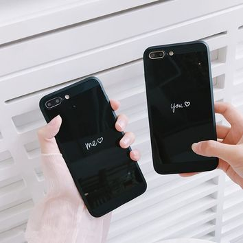 Couple love mirror tpu case For iphone 7 7plus Glossy soft tpu case for iphone 6 6s 6plus 8 8plus protective case girl style