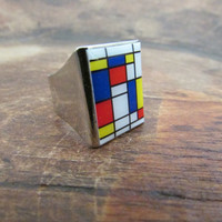 Mondrian Modern Art Ring, Square Resin Colorful Adjustable Rings, Art Geekery Geometric Jewelry