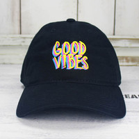 Good Vibes  Dad Hat  Embroidered Baseball Cap Curved Bill 100% Cotton