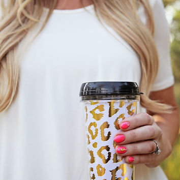 Gold Leopard Travel Coffee Mug