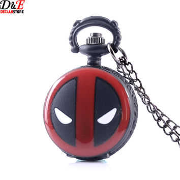 Deadpool New Necklace Chain Small Steampunk Pocket Watch Black  gift