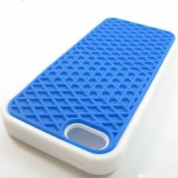 16663f224400b8 Amazon.com  iPhone 5 Silicone Rubber Sole Vans BLUE with White Side Waffle  Case Cover