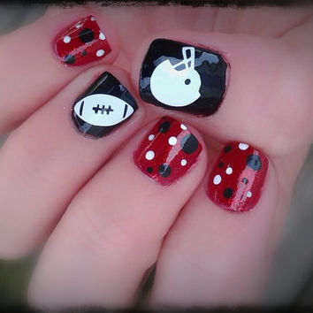 Game Day Helmet and Football one color Nail and Toe nail Decals (12 total)