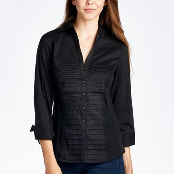 Women's Button Down Knit to Woven Pleated Shirt