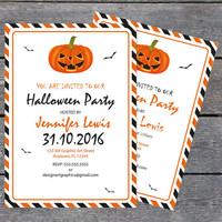 DIY Halloween Invitation with Pumpkins and Bats Template - 5 x 7 Black & Orange Stripes Halloween Party Invitations Editable PDF Templates