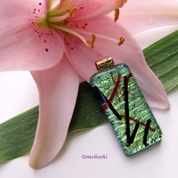 Kyoto Pond Handmade Dichroic Fused Glass Jewelry Pendant by Umeboshi Jewelry Design