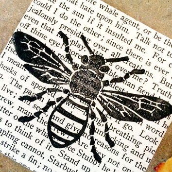 Vintage Book Pages, Vintage Wall Art, Vintage Bee Print, Recycled Book Page, Stamped Bee Print, Vintage Decor, Bee Wall Art, Stamped Pages