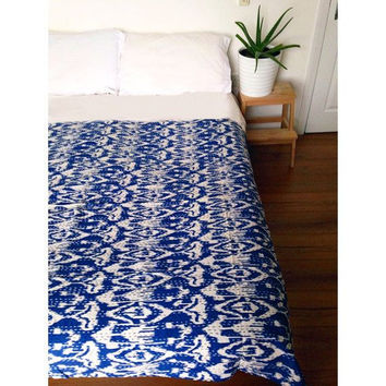 Ikat Blanket in Blue Kantha , Reversible Bedspread Handmade Cotton Bedsheet Home Décor