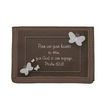 Brown with White Butterflies Bible Verse Wallet