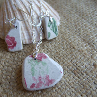 Scottish sea pottery necklace earring set, sterling silver and pottery jewelry set, necklace and earring set, pink and green floral necklace
