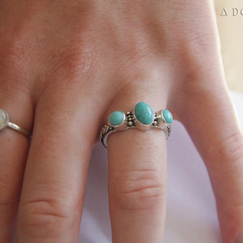 Triple Turquoise Ring, Silver Ring, Bohemian Jewelry, Gemstone Ring, Personalized, Solid sterling Silver Ring, Ring, Jewellery