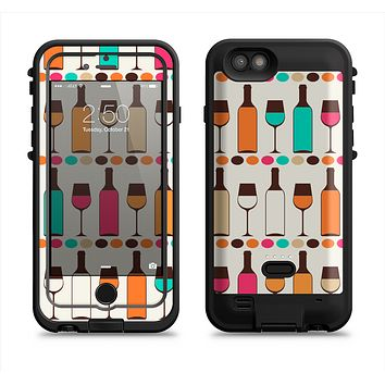 The Vectored Color Wine Glasses & Bottles Apple iPhone 6/6s LifeProof Fre POWER Case Skin Set