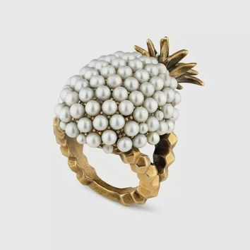 Rongho Design Baroque Vintage Pearl pineapple rings for women fashion jewelry gold statement rings Fruit bijoux