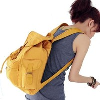 AutoM Yellow Color Women Ladys Fashion Korean Style Girl New Leisure Canvas Shoulder Bag Backpack