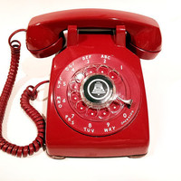 WORKING- Red Rotary Phone Telephone