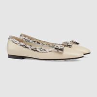 Gucci Leather ballet flat with snakeskin bow