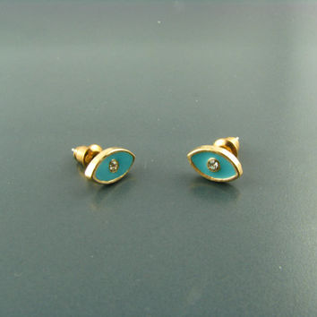 Blue Oval Earrings/ 14k Gold Plated/ Zirconia Eye Earrings