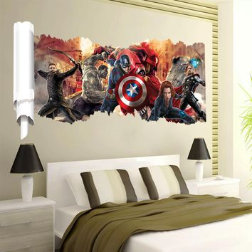 Avengers popular super hero wall decal gift movie character stickers for kids room home decoration mural art poster