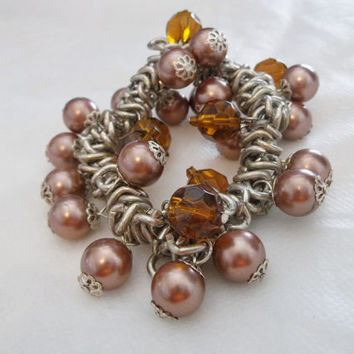Cha Cha Bracelet in Browns and Dark Amber Beads, Stretchy, Excellent Condition