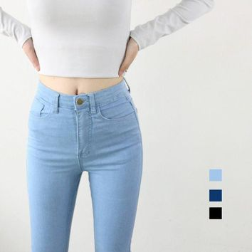 DCK9M2 High Waist High Elastic Jeans Women Hot Sale American Apparel Skinny Pencil Denim Pants Fashion Pantalones Vaqueros Mujer