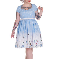 Hell Bunny Plus Size Christmas Winter Wonderland and Animals Party Flair Dress